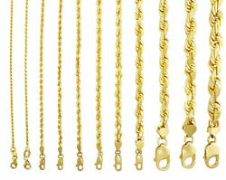 14k Yellow Gold Solid Rope Chain Necklace Bracelet 1mm-10mm Mens Women 7- 30