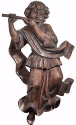 Stunning Antique Wood Carved Angel / Cherub Playing Flute, Continental Lime Wood