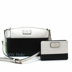 New Kate Spade Millie Black Cement Crossbody Wallet Set