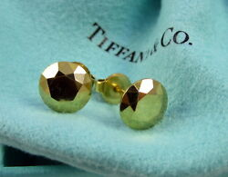 And Co Vintage Elsa Peretti 18k Yellow Gold 2 Carat Facet Pierced Earrings
