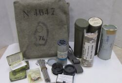 Vintage Swiss Army Sm-67 Gas Mask Field Repair Kit W/ Many Replacement Parts