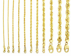 10k Yellow Gold 1mm-10mm Diamond Cut Solid Rope Chain Pendant Necklace 16- 32