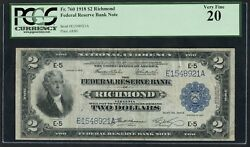 Fr760 2 1918 Frbn -- Richmond -- Pcgs Vf 20 Only 72 Recorded Hw3293