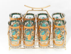Set Of 8 Highball Bar Glasses W/ Pagoda Brass Caddy C1950s By Fred Press