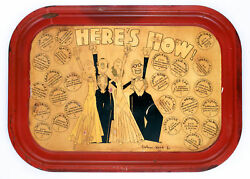 Here's How Serving 26 Cocktail Recipes C1920s Tin Tray By John Held Jr.