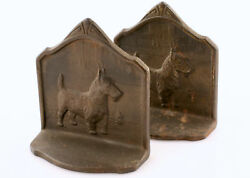 Pair Of Scottish Terrier Bronze Bookends c1929