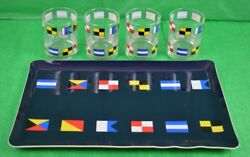 Abercrombie And Fitch Signal Flag Bar Tray And Set Of 14oz Glasses Nib