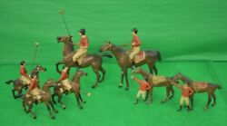 Rare Set Of 7 Heyde Germany Lead Polo Players C1928
