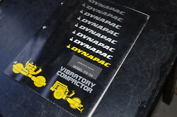 Dynapac Cg-09 Double Drum Vibratory Roller Owner Operator Manual Operation Book