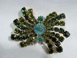 Old Green Austrian Crystal Rhinestone Pin Brooch Spider Arms Austria