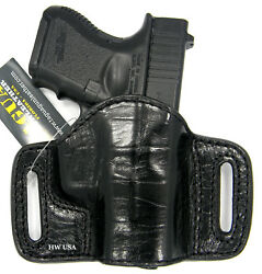 TAGUA PREMIUM OWB Open Top Belt Holster CROCO Black Leather for GLOCK 26 27 33 $28.00
