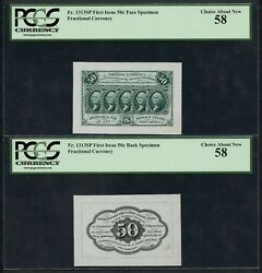Fr1313sp 50andcent 1st Issue Fractional Face Specimen Pcgs 58 Choice About New Wlm4545