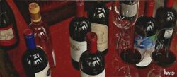 """Thomas Arvid """"well Red"""" Wine Art - Signed And Numbered Canvas 43 W X 19 H"""