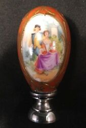 Rare German Hand Painted Porcelain Wax Stamp / Seal Sterling Base Meissen