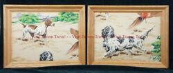 Pair Of 1940s Remington Arms Quilted Prints Hunting Spaniel Pointer Dog Pheasant