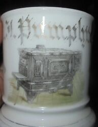 Rare Old Occupational Shaving Mug Hardware Store Business With Stove Graphic