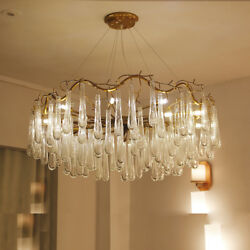 TOP Luxury Glass Water drop LED Chandelier Pendant Light Living Room Hall Lamp