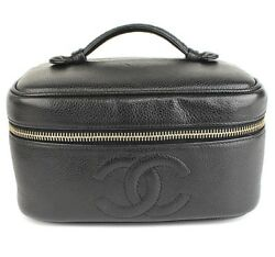 CHANEL Coco Marks Vanity Cosmetic Bag Caviar Skin Leather Black #39871