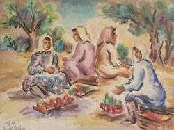David Gilboa 1901-1975 , Watercolor On Paper, Market Day , Signed