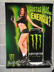 Sexy Girl Dorm Poster Monster Energy Drink Beautiful Latina Woman w Slit Top