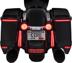 Ciro Bag Blades Led Lights Fits And03910-and03913 Harley Flhx And Fltrx Models Amber 40029