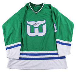 Mike Liut Autographed Whalers Green Jersey Uacc Exact Proof Psa