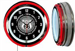 Route 66 With State Names 19 Red Double Neon Clock Man Cave Garage Shop Chrome