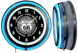 Route 66 With State Names 19 Double Neon Clock Blue Neon Man Cave Garage Bar