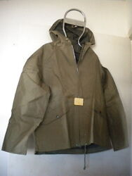 Vintage Rain Jacket Army Green W/ Hood And Draw String Size Small Made In Japan