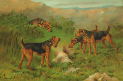 Vintage Welsh Terrier Dogs by Maud Earl 908  ~ New  Large Note Cards