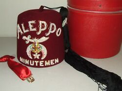 Vintage Shriners Aleppo Minutemen Jewelled Fez Hat And Tie With Case -d. Turin Co.