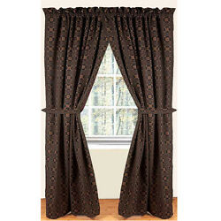 New Primitive Colonial Black Mustard Loverand039s Knot Curtain Drapes Panels 63