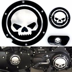 Motorcycle Black Chrome Skull Timing Accessories Engine Derby For Harley Models
