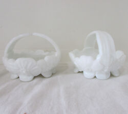 Pair Of Westmoreland Milk Glass Dogwood Basket Candy Dishes With Split Handles