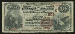 Fr489 Ch 653 10 1882 Natand039l Brown Back Yonkers N.y. Only 2 Known Rare Wlm4760