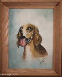 Vintage Oil Painting of Dog Beagle Mix Signed quot;D. Giftquot; Exc Condition amp; Nice