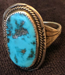 Fabulous Huge Les Baker Collectible Ring Natural Morenci Turquoise Size C.16-18