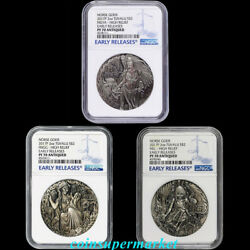 Australia 2017 Norse Goddesses Silver Antiqued High Relief 3 Coins Set Ngc Pf70