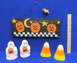 Halloween Wooden Plaque Sign 2 Ghost Candles And 2 Candy Corn Candles Lot Of 5