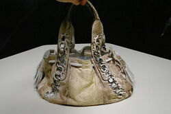 Authentic Michael Kors Collection Shoulder Bag ID Chain Tassel Tote Python