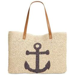 Style & CO Womens Anchor Beach Ivory Bag Anchor Beige Large