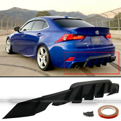Fit 14 16 IS200t IS250 IS350 W WD AW Style PU Rear Bumper Diffuser Lip Shark Fin