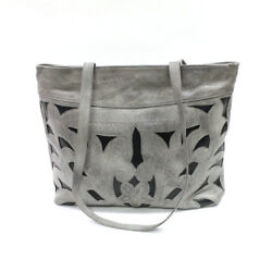 Leaders in Leather Grey amp; Forest Green Classic Cutout Tote On Sale $165.00