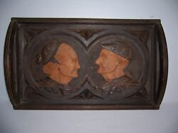 Antique Vintage Hand Carved Wooden Serving Tray Of Old Man And Woman Marked Saez
