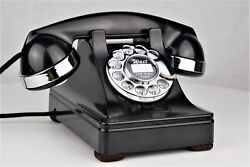 Vintage Antique Western Electric 302 Rotary Dial Telephone W/ Chrome Trim Works