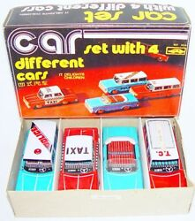 China Mf-946 Ford And Chevrolet Emergency And Taxi Car Tin Friction Toy Gift Set `80