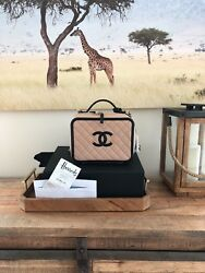 Chanel Vanity Case Beige Black Piping Large