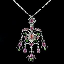 Antique Edwardian Suffragette Pink Green Paste Pendant And Chain Circa 1910