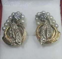 Vintage Handmade 14k Sold Gold Culture Pearls Diamond With Screw Back Earrings