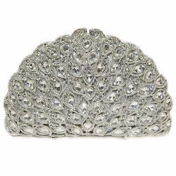 WOMEN'S Luxury Evening Bag HARD SHELL SILVER Crystal-Embellished Evening Clutch